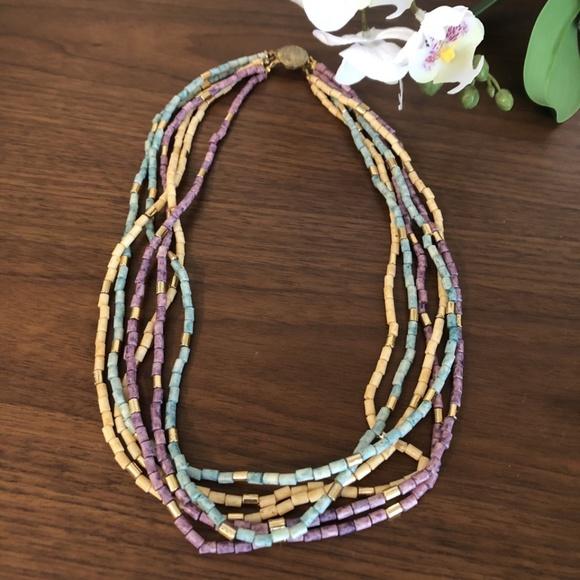 Vintage Purple Blue Beaded Multi Strand Necklace